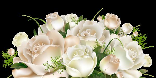 Bon Lundi White_Roses_Decoration_PNG_Clipart_Picture